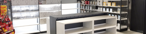 The material type of the cosmetic counter display cabinet of the customized display cabinet manufacturer